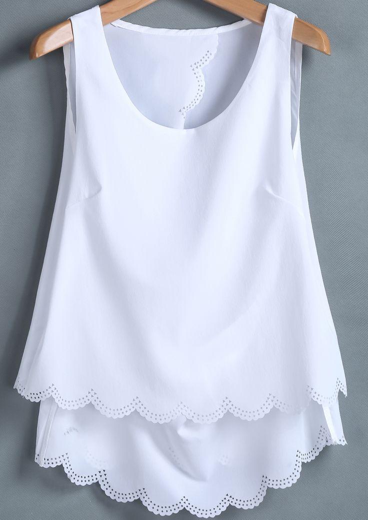 White Sleeveless Back Split Chiffon Vest