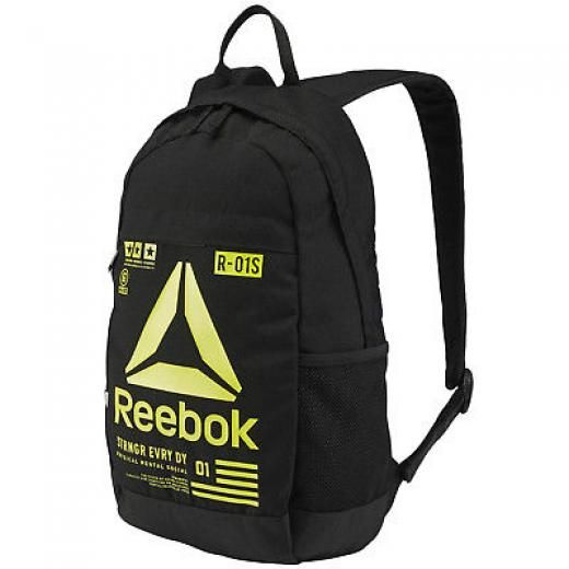 Reebok Kids Junior Motion Tr Sports Travel College School Rucksack Backpack Bag Black Polyester