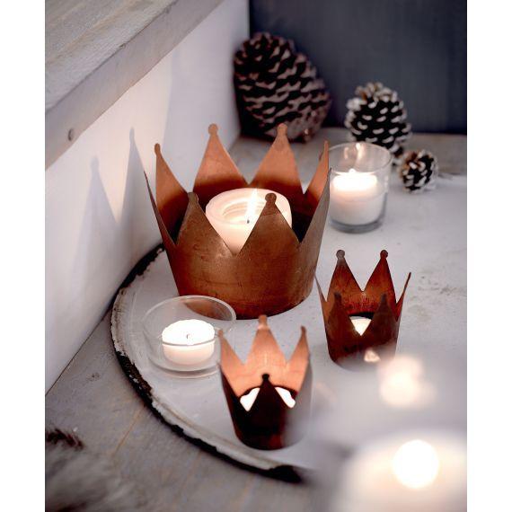 Deko-Übertopf Krone, schöne Teelichter für die Adventszeit