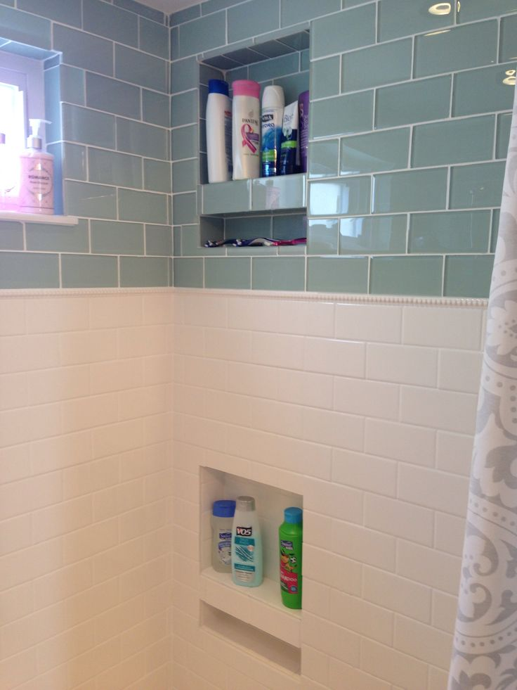 Shower Niche Glass Subway Tile Classic Dotted Pencil