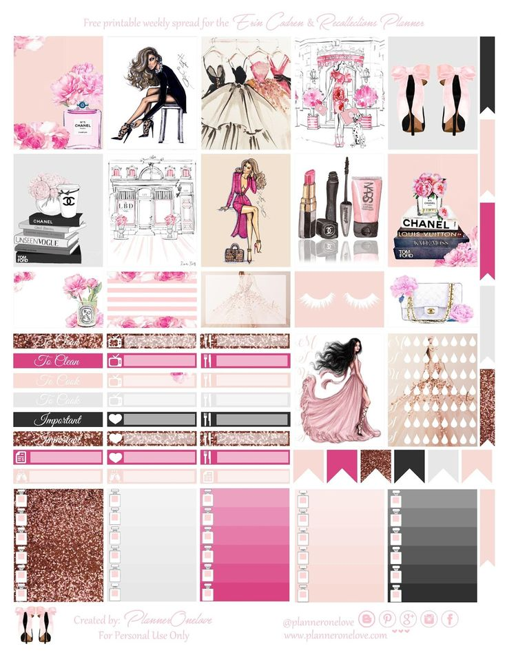 FREE Fashion printable spread for the Erin Condren & Recollections planner - Planner Onelove