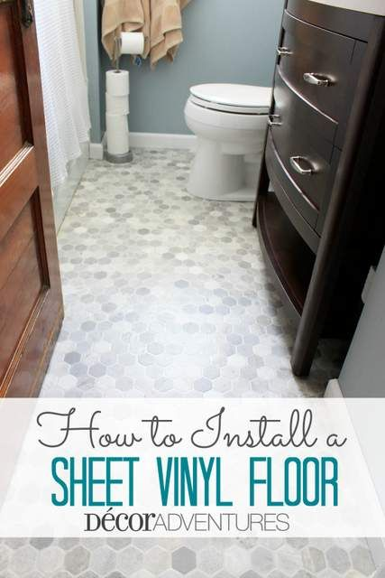 How to Install a Sheet Vinyl Floor - In our small bathroom we installed this easy vinyl sheet floor, that looks exactly like tile, but is far less expensive, qu…