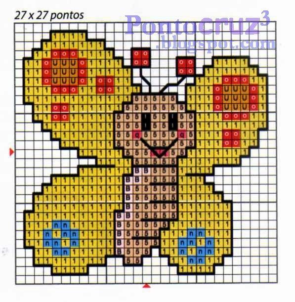 Bordados Ponto Cruz: Gráfico ponto cruz - Borboleta simpática. #pontocruz…