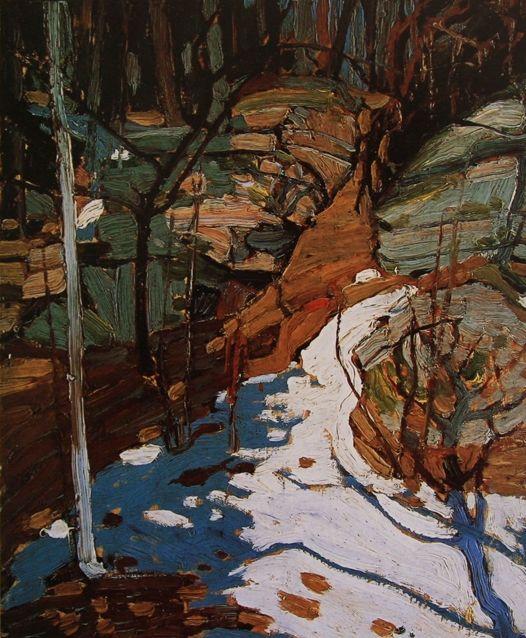 Snow In Rocks, Tom Thomson. Canadian (1877 - 1917)