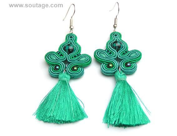 Emerald Comet earrings are good jewelry for any occasion. Crystals and soutache embroidery are perfect for dressy or casual. Using materials: chrysocolla stones, glass beads, soutache, viscose, silky tassel Length of earring: 7 cm Width of earring: 3 cm Handmade by soutache technique.
