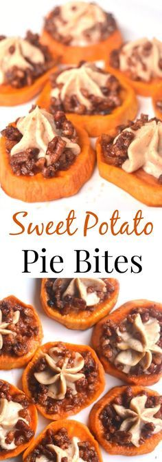 These Sweet Potato Pie Bites are perfect for dessert or part of a holiday meal. Roasted maple sweet potatoes with cinnamon cream cheese and maple pecans make this dish mouth-watering! www.nutritionistr...