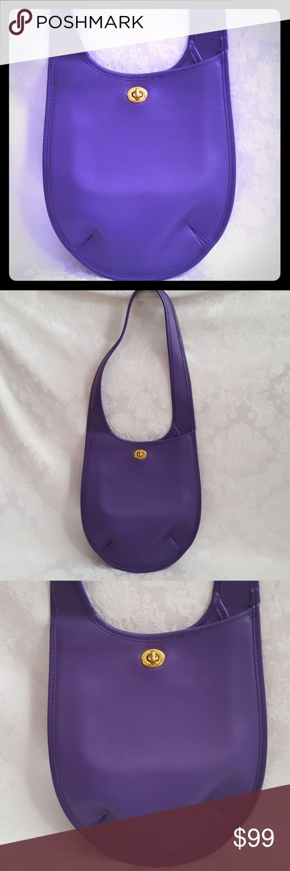 """Like New! Bright Purple Leather Shoulder Bag Purple shoulder bag. Feels like genuine leather with suede lining. No tag. Pic 5 shows suede. It isn't discolored, it's the different ways the suede was brushed. If not genuine leather then high quality material. Feels like classic high end bag. Thick & durable Made in Korea. Gold clasp  Measures approx 10"""" wide x 11"""" tall x 3"""" base. Handle adds 12 1/2"""" height. Excellent used condition. Solid color No discoloration. Discoloration on pics is my…"""