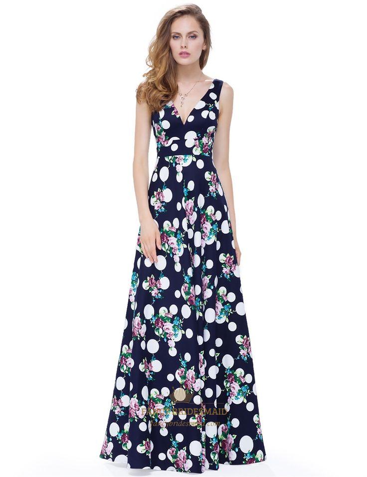 FancyBridesmaid.com Offers High Quality Elegant V Neck Sleeveless Print A Line…