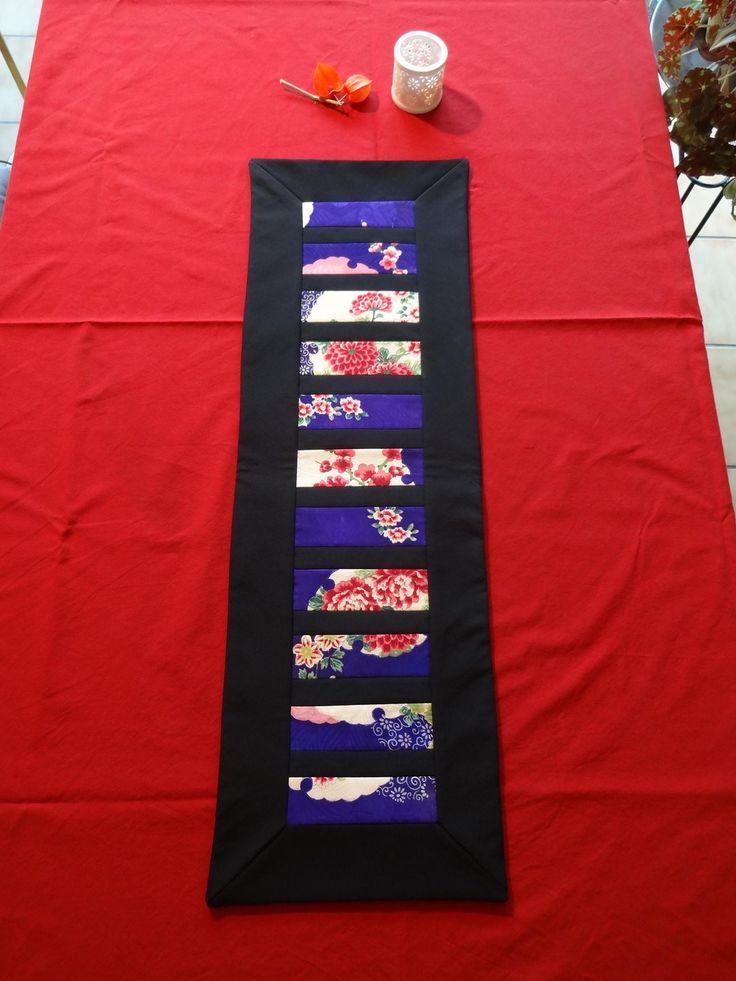 Chemin de table en Patchwork de tissus anciens de kimono de soie : Accessoires de maison par coeur-de-physalis
