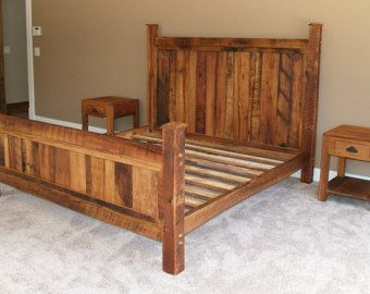 reclaimed rustic pine platform bed with headboard and 4 drawers rustic bed framesking - Wood Bed Frame King