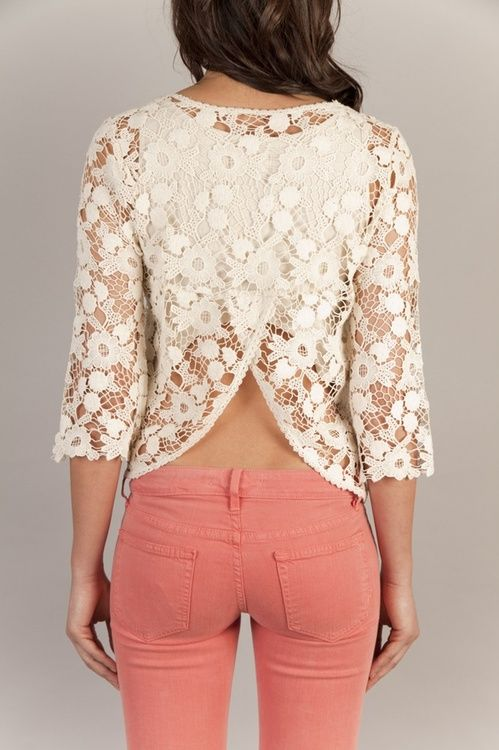 lace back and coral jeans: Coral Jeans, Lace Tops, Style, Pink Pants, White Lace, Open Back Shirts, Lace Back, Pink Jeans, Lace Shirts