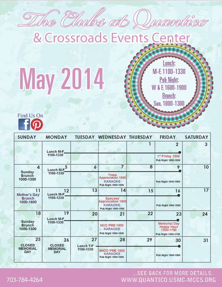 May Calendar Events : Best images about the clubs at quantico crossroads