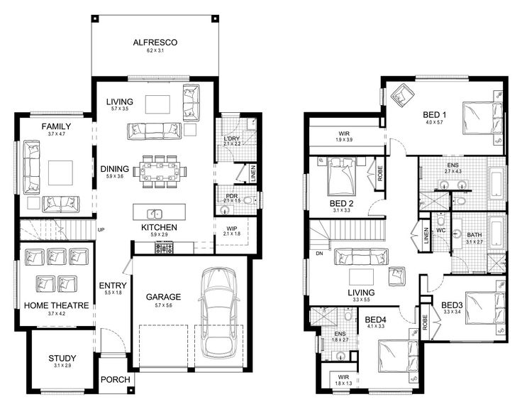 Allure 36 - Double Level - Floorplan by Kurmond Homes - New Home Builders Sydney NSW