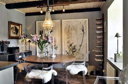 thehousehome | what don't I love in this dining room? The rustic elements. The soft furs on the seats to cozy up meal time. The warm colors.