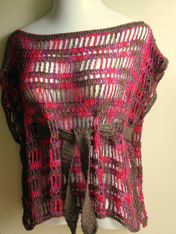 Bohemian crocheted Sleeveless top with belt by Elegantcrochets, $68.00