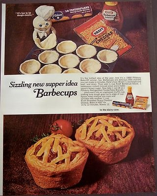 Mouse over image to zoom                                                                                                           Have one to sell?Sell it yourself               1969 vintage food Ad Barbecups recipe w/ Pillsbury biscuits, Kraft cheese