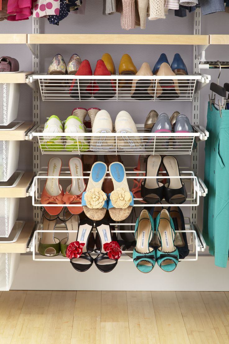 how to organize shoes in open closet   elfa is great for organizing your shoes!   Home Candy ...