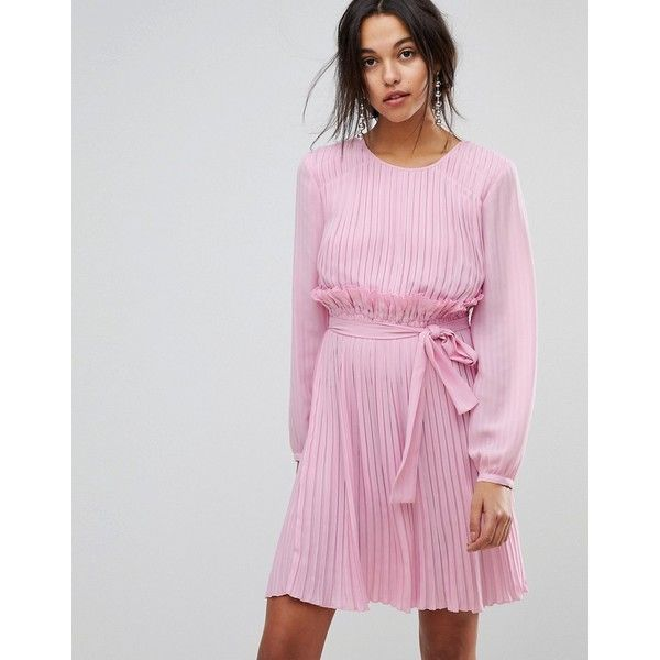 Max&Co Candy Pink Ruffle Dress ($297) ❤ liked on Polyvore featuring dresses, pink, jersey dresses, pink frilly dress, striped jersey, ruffle dress and embroidered dress