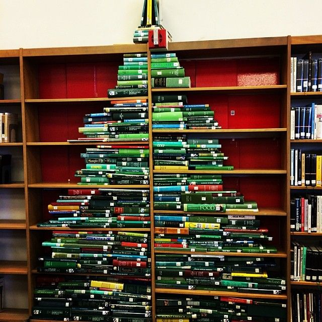 Xmas tree by librarian Ann in Palm Springs HS