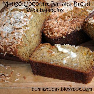 Mango Coconut Banana Bread, a perfect vata balancing quick bread for fall.