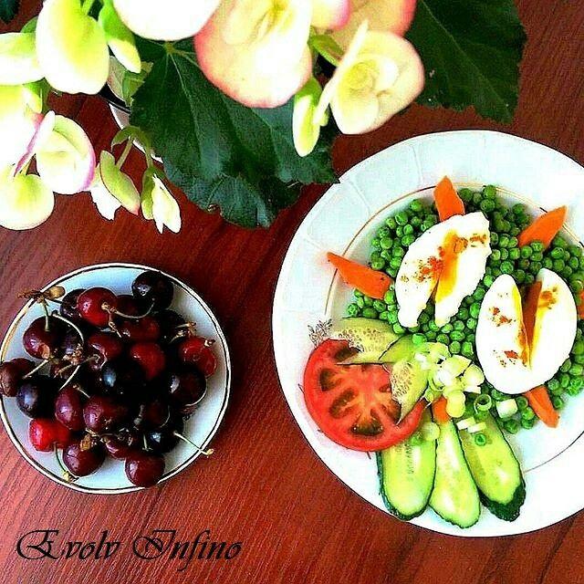 Peas, Eggs & Cherry Dessert