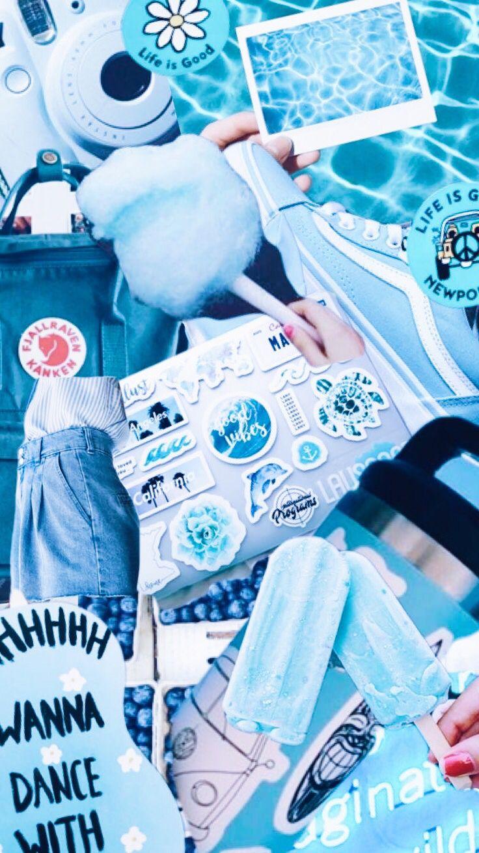 Aesthetic Blue Wallpaper Aestheticwallpaper Collage Moodboard
