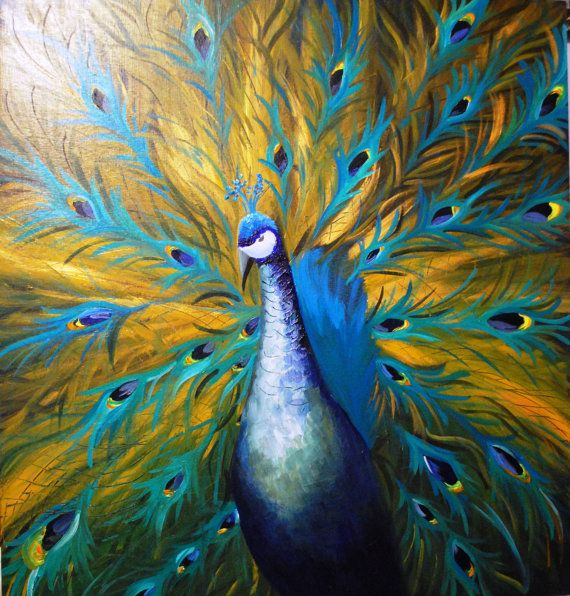 golden peacock original acrylic painting by