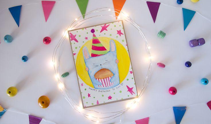 """""""Coniglietto loves Muffin"""" #bunny #rabbit #watercolor #watercolour #acquerelli #birthday #birthdaycard #card #cards #coniglietto #coniglio #compleanno #tantiauguri #buoncompleanno #watercolorillustration #illustration #alittlemarket #alittlemarketitalia"""