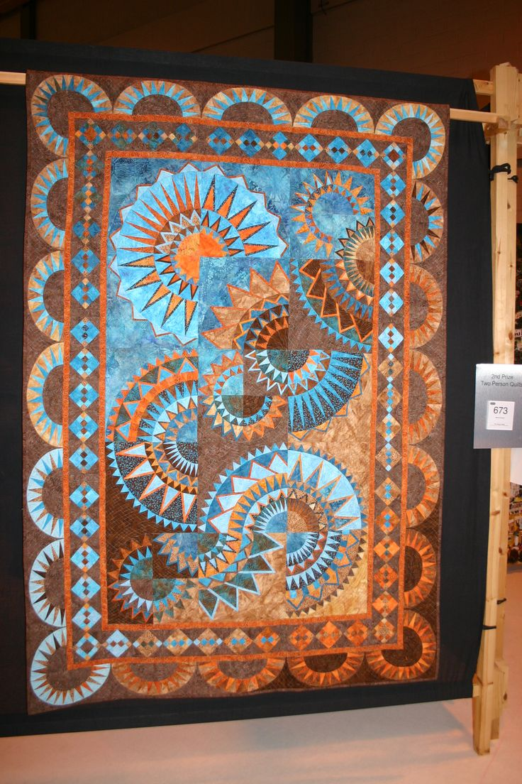 Mexican Sunset by Margrit Schommers and Claudia Pfeil. Festival of Quilts 2011. Posted by Nordie at Sorcha Ogle (Birmingham, UK)