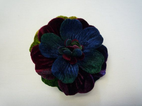 """2.5"""" Special Hand-Dyed Velvet Flower Pin with gorgeous coloring"""