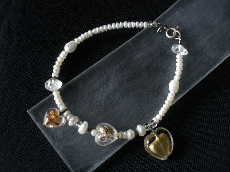handmade bracelet of silver 925,pearls and mourano hearts