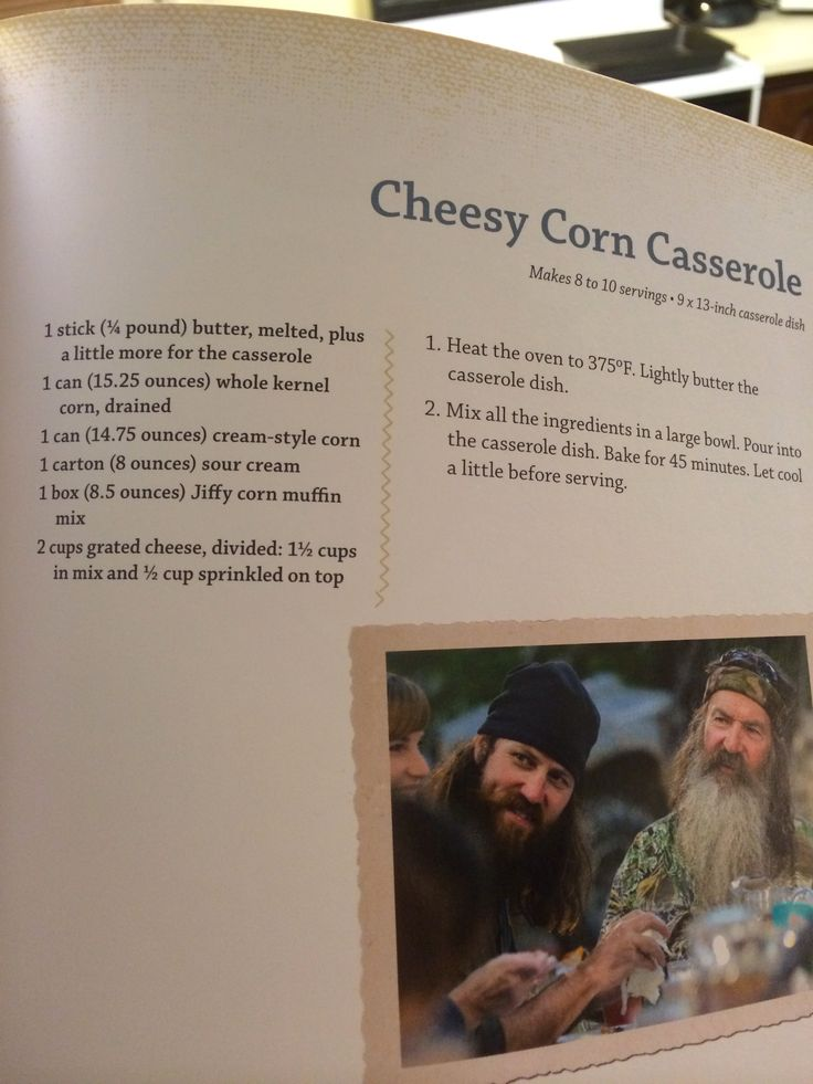 Cheesy corn casserole. Miss Kay (Duck Dynasty) Recipe.