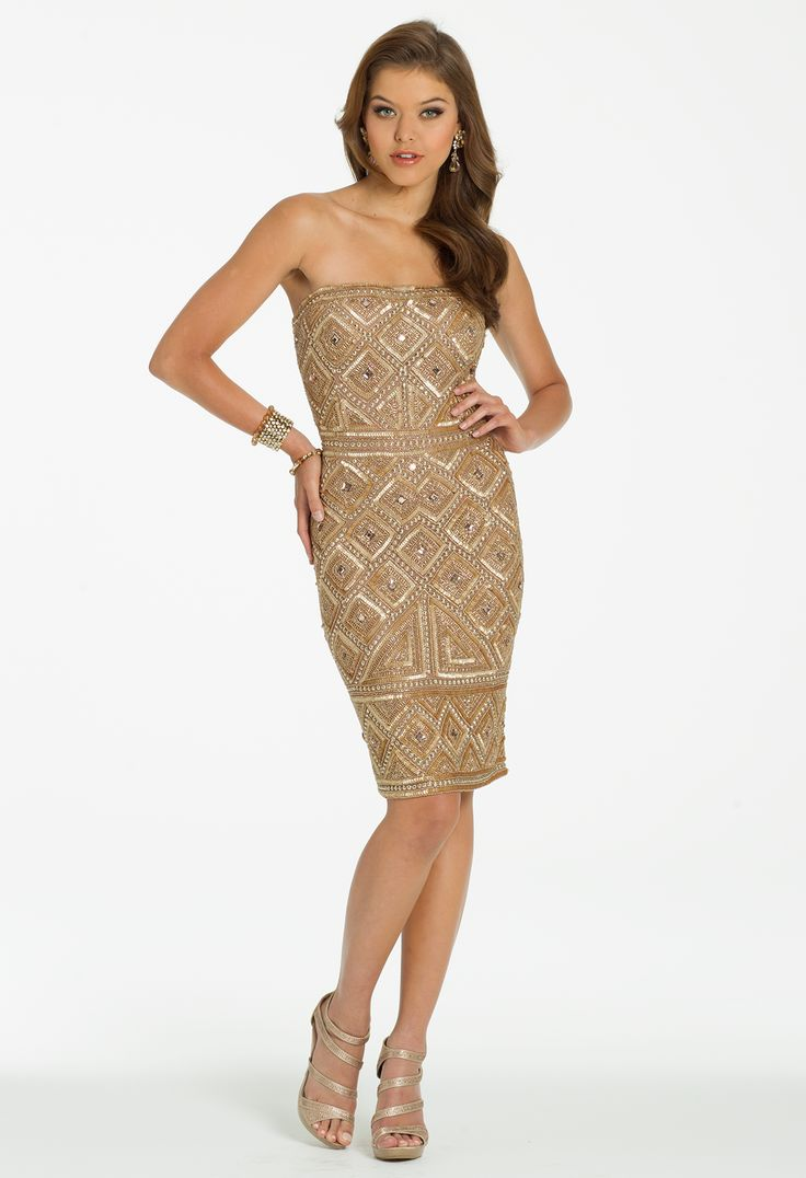 Strapless Fully Beaded Short Dress by Camille La Vie & Group USA