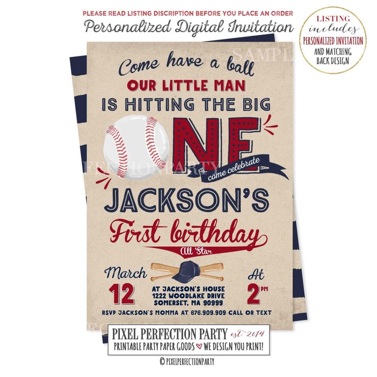 Baseball Birthday Invitation Baseball Invitation Baseball First Birthday Invitation Boy 1st Birthday Invitation Vintage Baseball Invitation by PixelPerfectionParty on Etsy https://www.etsy.com/listing/494171019/baseball-birthday-invitation-baseball