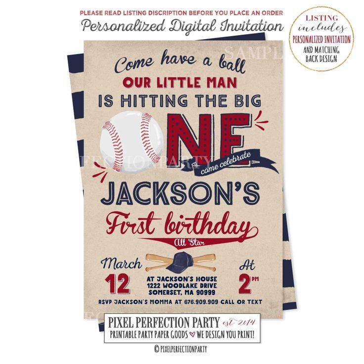 Baseball Birthday Invitation Baseball Invitation Baseball First Birthday Invitation Boy 1st Birthday Invitation Vintage Baseball Invitation by PixelPerfectionParty on Etsy https://www.etsy.com/listing/494171019/baseball-birthday-invitation-baseball
