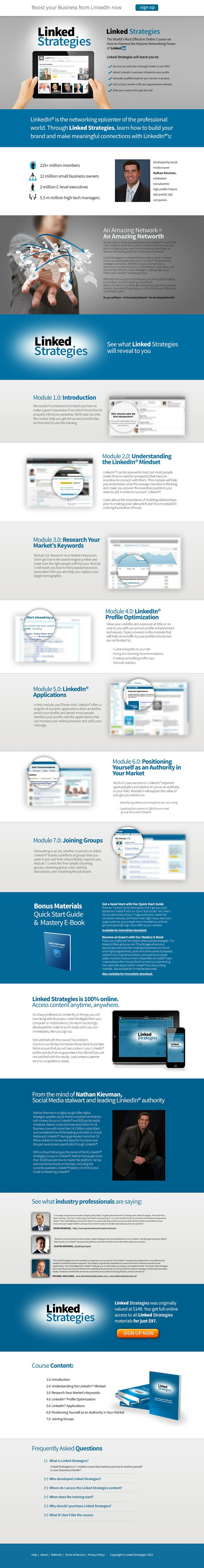 The Linked Strategies Group was founded by Nathan Kievman, CEO and has consulted with and provided LinkedIn® Strategies to Fortune 500 companies, mid to small businesses, INC 500 companies and many international thought leaders and speakers. Generating more than $9 Million of revenue for its clients over the past two years through LinkedIn® Strategies. Property of LinkedStrategies®