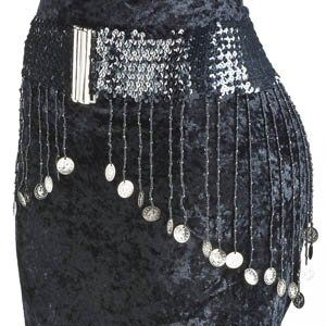 Belly Dance Sequined Belt - Black With Silver Coins Wholesal-Joissu.com
