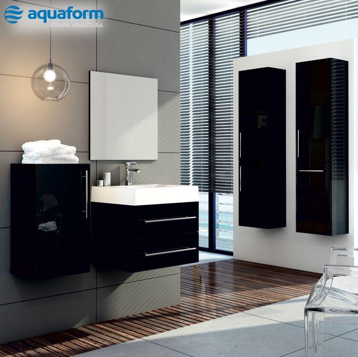 Czerń w łazience nie musi być przygnębiająca. Wybierając tylko jeden element w tym kolorze, np. kolekcję mebli Amsterdam, nadamy wnętrzu elegancki charakter. #Aquaform #Łazienka #Bathroom #ŁazienkaWCzerni #czerń #MebleŁazienkowe #Amsterdam #Trendy #Design