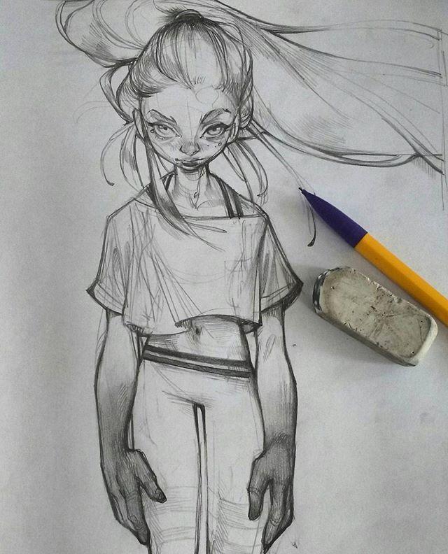 Mindlessly doodling to M83. #art #illustration #sketchbook #sketch #pencil #girl