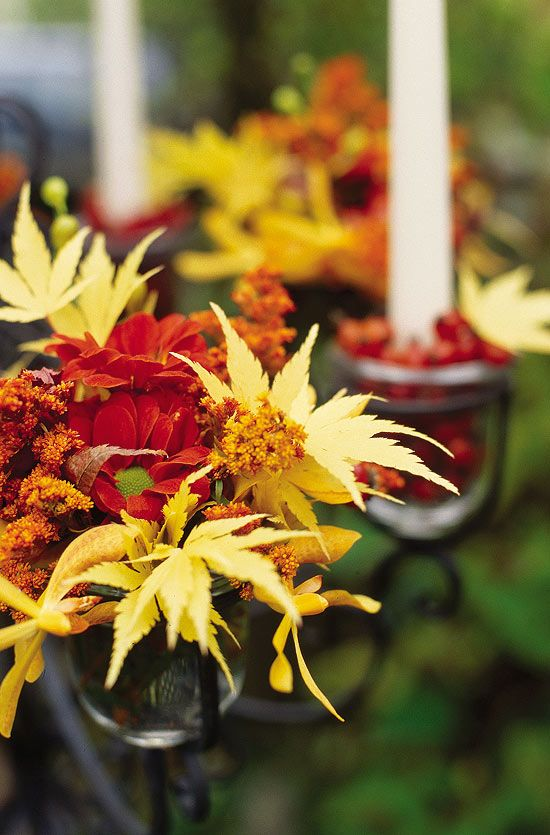 Enchanting Maples Combine Yellow Japanese Maple Leaves, Orange Red  Daisy Type Mums,. Harvest TablesThe ...