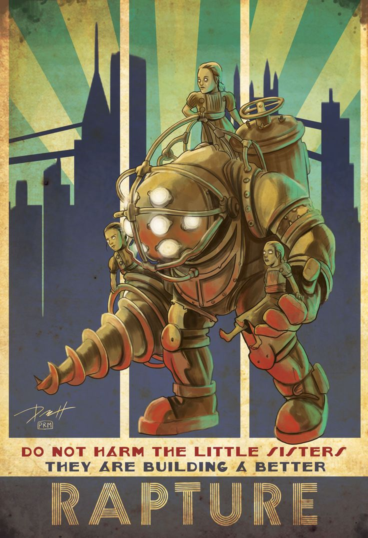 Bioshock Big Daddy and Little Sisters by PaulRomanMartinez http://arsenicinshell.tumblr.com/post/140697229372/bioshock-big-daddy-and-little-sisters-by