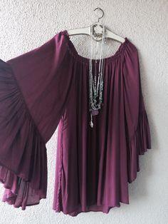 Image of Violet romantic cape sleeves off shoulder beach coachella dress
