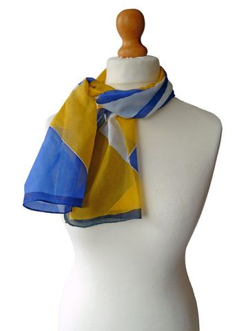 Hand painted, blue and yellow, silk scarf