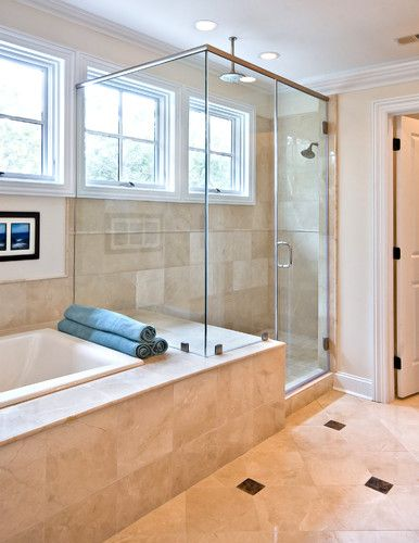 Traditional Bathroom Tub Shower Combination Design, Pictures, Remodel, Decor and Ideas - page 3