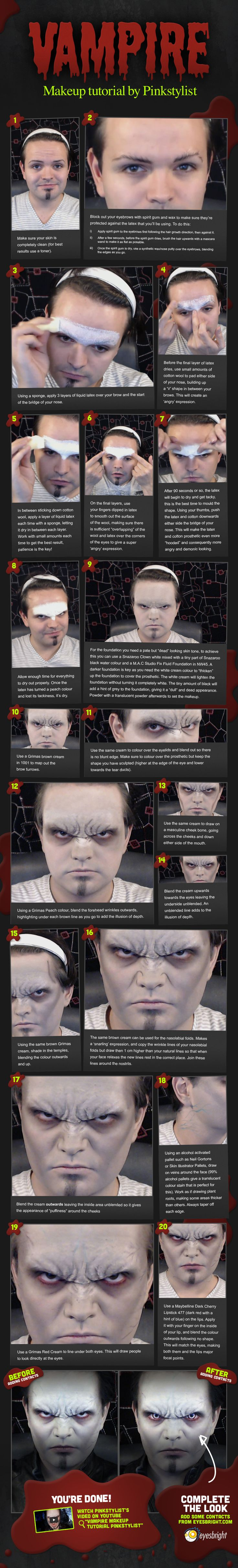 """""""Vampire Makeup Tutorial"""" infographic for Eyesbright #eyesbright #contactlenses #contact #lenses #halloween #vampire #tutorial #makeup #pinkstylist #infographic"""