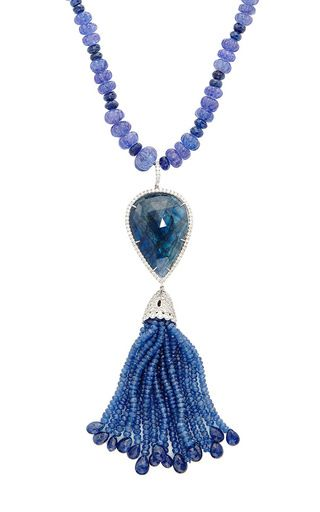 25in 18k white gold iolite & blue sapphire necklace with blue sapphire tassel pendant by NINA RUNSDORF Preorder Now on Moda Operandi