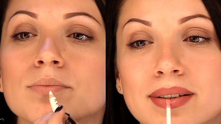 Уроки макияжа. Увеличение губ с помощью косметики. Как увеличить губы с ...