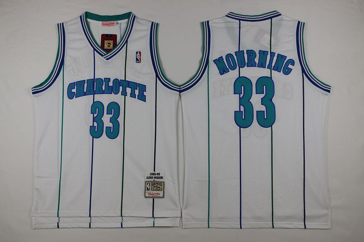 Mitchell And Ness Charlotte Hornets #33 Alonzo Mourning White Throwback Stitched NBA