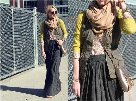 winter maxi skirt...... longsleeve sweater tucked in vest over scarf over jackrt