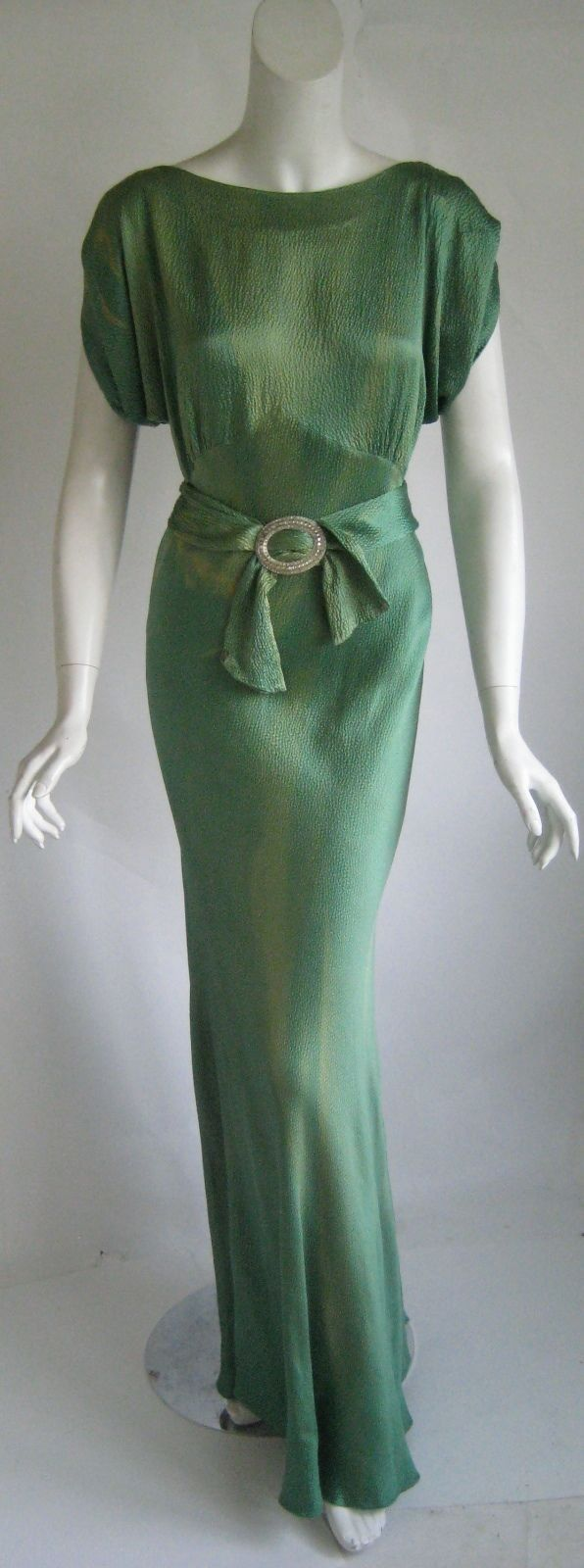vintage 1930s art deco numbered screen star bias cut silk goddess evening gown(150)
